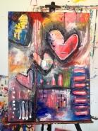 "Art Battle Training Painting #1, 18"" x 24"", SOLD."