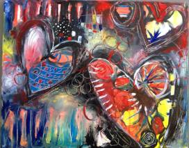 "Art Battle Training Painting #4, 16"" x 20"", SOLD."