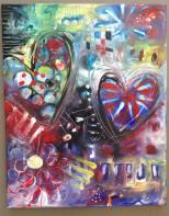 "Art Battle Training Painting #3, 16"" x 20"" SOLD."
